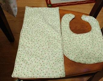 Lt green bib and burp cloth set