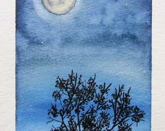 Original watercolor painting - Shine Through- Full moon - night sky - trees