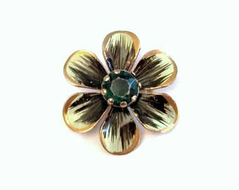 Green Flower Brooch Pin Painted Petals Rhinestone Center Emerald Gold Tone Metal Floral Blossom Bouquet Summer Spring Mid Century Vintage