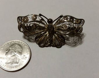 Vintage sterling silver butterfly pin baer
