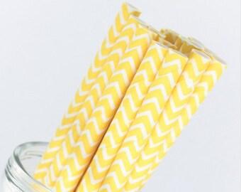 Yellow and White Chevron Paper Straws