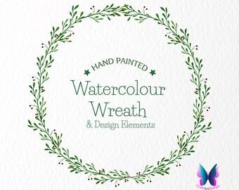 Watercolour Laurel Wreath Digital Clipart. Watercolor Laurel and Berries. Watercolour Floral Clip Art , Watercolor Clipart