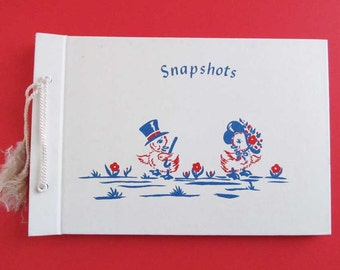 Vintage Baby Memory Book Scrapbook Keepsake Photo Album Record Unused Unisex For Boy Or Girl Unique Cute Pair Red White Blue Dancing Ducks