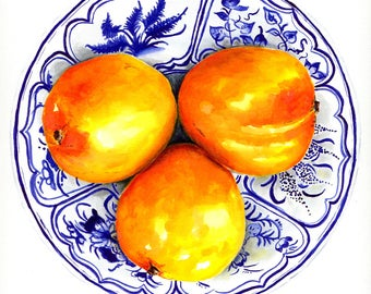 Blue and white china Mango bowl ready to hang art print