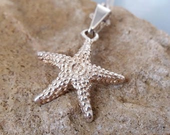 Silver Starfish Necklace Sea Star Pendant Nautical Jewelry Vintage UK