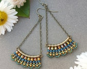 Amber & Blue Boho Sway Earrings >> Made-To-Order > Amber Luster, Teal, Bronze and Blue Woven Seed Beads in Brass > Bohemian Beaded Earrings