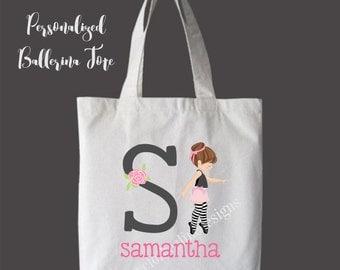 Brunette Hair Personalized Girls Tote Bag Overnight Bag Dance Bag