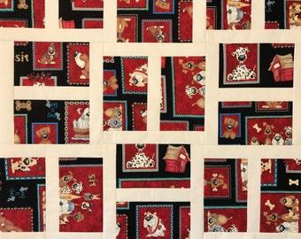 Dog Quilt Unfinished Quilt Top Dog Lovers Doggy Blanket Pet Blanket Woof Dog Paws Bones Paw Prints Red Black Brown