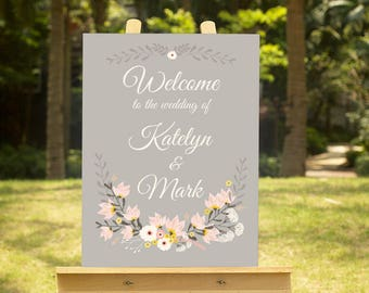 Printable Wedding Welcome Sign / Wedding Decoration / Digital Wedding Welcome Sign / Customized Welcome Sign / Floral Sign/Taupe sign