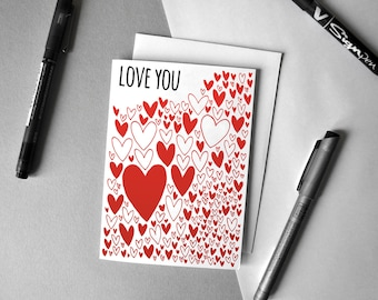 """Hearts Pattern """"Love You"""" Card"""