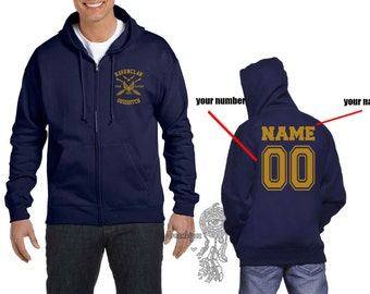 CAPTAIN - ZP Custom Back, Ravenc Quidditch team Captain Yellow print printed on Navy Zipper Hoodie