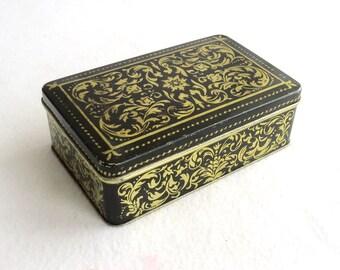 Soviet Vintage, Large Black - Yellow Candy box, Candy tin, Vintage Tin, Flowers, Metal box, Retro Storage Tin, Cookie Tin 70s
