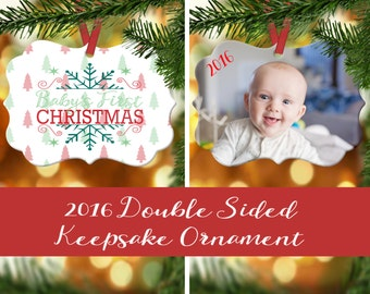 Baby's First Christmas Ornament - Baby's 1st Chrismas - Photo Ornament - Family's First ...