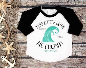 Going To Be a Big Cousin;Pregnancy Announcement;Baby Announcement;Big Cousin Tee;Sibling Tee;Surfer Baseball Shirt;Black Big Cousin Tee