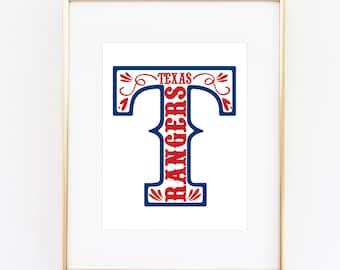 Texas Rangers Baseball Printable (8x10)