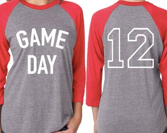 Game Day 3/4 Sleeve Baseball Tee with Number Customization | Women's Cut Raglan T-shirt ( tshirt) | Sports Athlete Womens Customizable