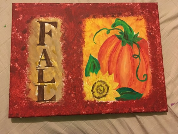 Fall painting on 16 by 12 inch canvas