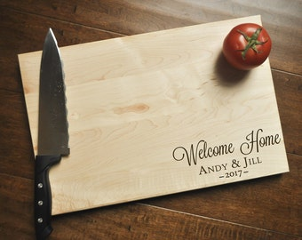 Welcome Home Cutting Board, Engraved Cutting Board, Custom Personalized Wedding Gift, Housewarming Gift, Anniversary Gift, Realtor Gift