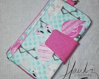Pink Flamingo Wallet Wristlet - Custom - Made to order - Flamingo Gift