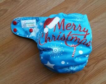 Merry Christmas cloth diaper - AIO cloth diaper - one size cloth diaper - hemp bamboo diaper - wahm cloth diaper - Santa hat diaper