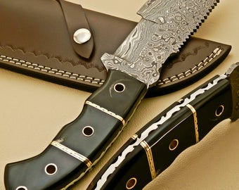 Damascus Hand Made Fixed Blade    Hunting  Tracker Knife With Real Leather Sheath