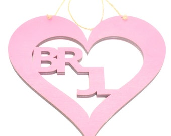 Personalised Large Pink Hanging Heart Plaque with Love