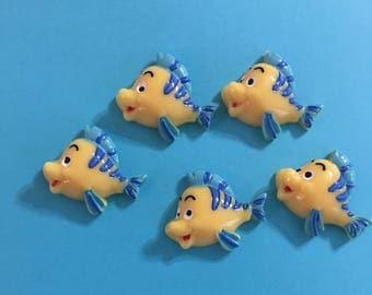 Kawaii Cartoon Cabochons Resin Little Mermaid Flounder Bubbles Cabochons Decoden Crafts | 5 pcs
