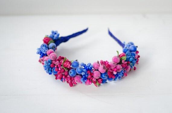 Ukrainian Vinok with blue and pink sugar berries / pink tulip / floral headband / berry wreath / ukrainian wedding crown