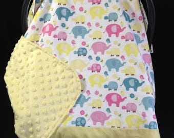Car Seat Canopy/ Car Seat Cover/ Yellow, Pink, Blue/ Elephants/ Turtles