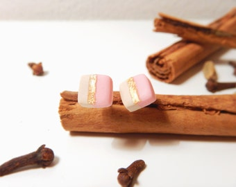 Square Earrings-Minimal, geometric-Urban style-made with Fimo and 24k gold-hypoallergenic