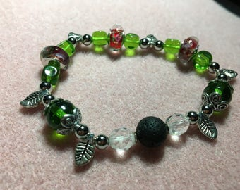 Green Leaves and Red Flowers Diffuser Bracelet No. 2