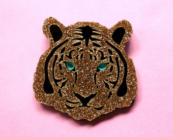 Gold glitter tiger brooch – big cat jewellery | Tiger head brooch | Tiger jewelry gift | Zoo animal brooch | Bengal tiger | Tiger lover gift