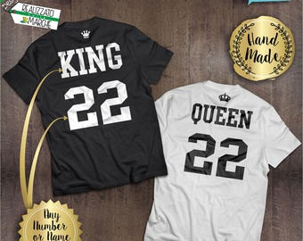 CUSTOM Couple t-shirt King and Queen, or  King and King, or Queen and Queen