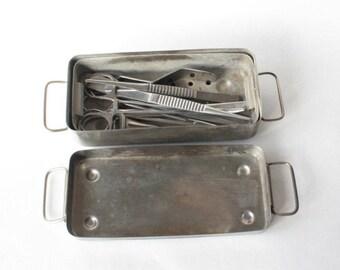 Medical tool set Sterilizer for tools Vintage medical instruments Set of medical instruments Stainless Steel Sterilizer Bath Container