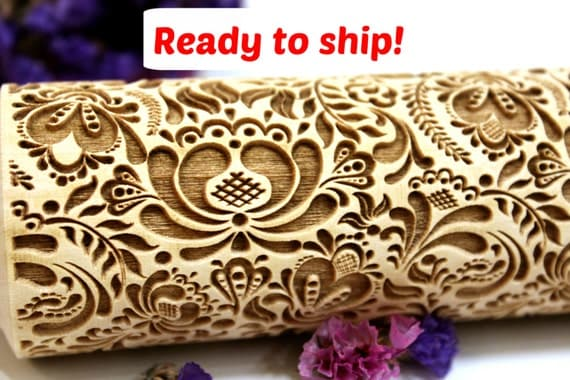 Flowers Embossing Rolling Pin Laser Engraved Rolling Pin