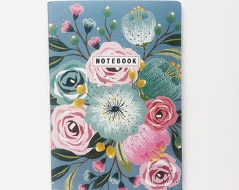 Blue floral lined notebook