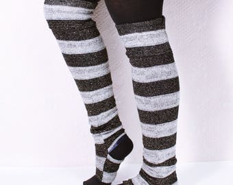 Stirrup Leg Warmers Black and Gray Sparkle Stripe (LINED!) Thigh High or Knee High