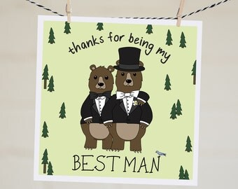 Thanks for Being My Best Man Card | Thanks for Being My Groomsman Card | Groomsman Card | Best Man Card | Bridal Party Thank You Funny Card