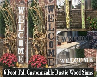 Wooden outdoor welcome sign, Rustic wooden welcome sign, Reclaimed wood welcome sign, Hand painted welcome sign, Front porch welcome sign