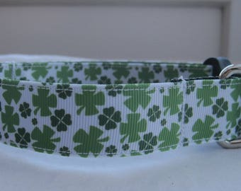 St patrick Dog collar lucky four leaf clover or matching leash
