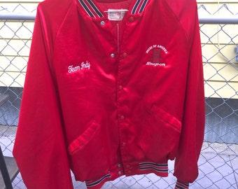 Red Vintage Bomber Jacket Size Large Men's