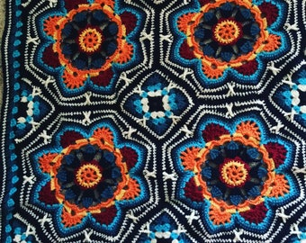 Crochet Persian Tile Blanket, colourful throw, heirloom crochet, crochet bedcover, crochet afghan, persian blanket, lap blanket