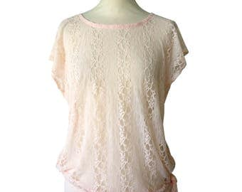 Florine salmon pink lace chic retro tunic