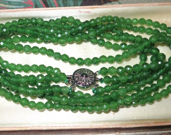 Lovely 3 strand faceted 5mm natural raw Emerald necklace 19""