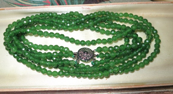 """Lovely 3 strand faceted 5mm natural raw Emerald necklace 19"""""""
