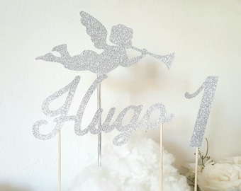 Cake decoration - first name + age + Angel silver glitter paper