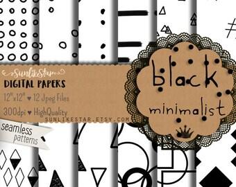 Hand Drawn Digital Scrapbook Paper: Black Geometric Background, Seamless Pattern, minimal, paper, minimalist, black and white, doodle - 051