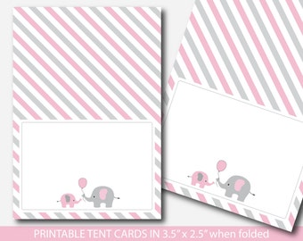 Pink elephant baby shower food labels, Food tent cards, Place cards, Food tent labels, Place settings, Buffet labels, BE3-10