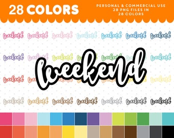Weekend clipart, Weekend graphics, Weekend planner clipart, Weekend script icon, Weekend clip art, Weekend png, Text clipart, CL-1036