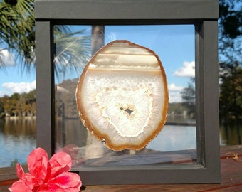 On Sale! Regular Price 60.00 Hand Polished Agate Slice in a 3D Floating Frame | Free Standing | Desk Decor | Makes a Great Gift!